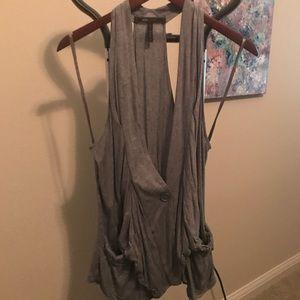 Grey BCBG Tunic Length Vest with pockets